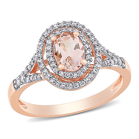 0.7 CT. T.W. Morganite with 0.25 CT. T.W. Diamond Double Halo Engagement Ring in 14K Rose Gold