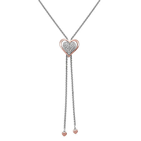 Sterling Silver and 14 Karat Rose Gold Heart Bolo Necklace with Diamond Accent