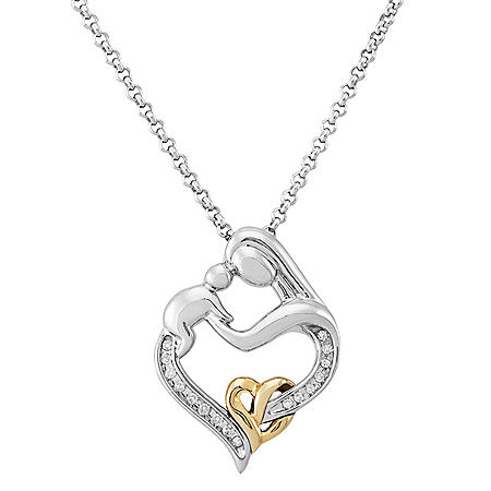 Sterling Silver and 14 Karat Yellow Gold Mother and Child Pendant with Diamond Accent