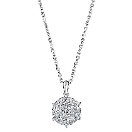 0.47 CT. T.W. Round Diamond Halo Pendant in 14K White Gold (H-I, I1)