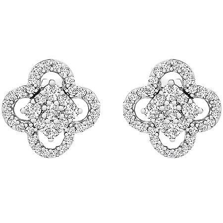 0.25 CT. T.W. I-I1 White Gold Diamond Flower Earrings