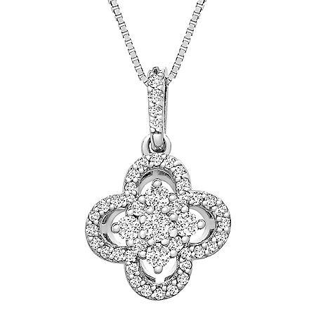 0.25 CT. T.W. I-I1 14K White Gold Diamond Flower Pendant