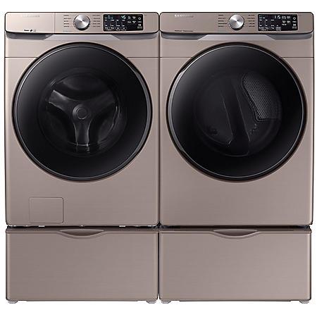 SAMSUNG 4.5 cu. ft. Front Load Washer & 7.5 cu. ft. Dryer on Pedestals - Champagne