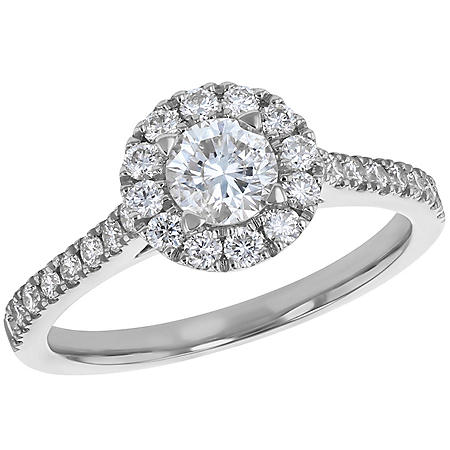S Collection Bridal 1 CT. T.W. Diamond Halo Ring in 14K Gold (I1, H-I)