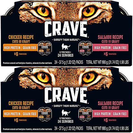 Crave High-Protein Grain-Free Adult Cat Food, Chicken & Salmon Recipe in Gravy Bundle (24 Twin Packs)