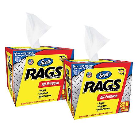 Scott Shop Rags In A Box, 2 pk. (350 sheets each, 700 total sheets)