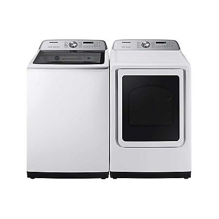 SAMSUNG 5.0 cu. Ft. Top Load Washer with Active WaterJet and 7.4 Cu. Ft. Dryer with Multi-Steam Technology Suite - WA50R5400, DV45R5400 (CHOOSE: Color, Display, Fuel Type)