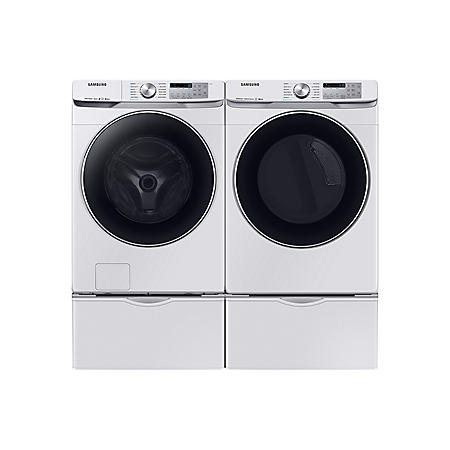 Samsung Side-by-Side on Pedestals Laundry Package in White