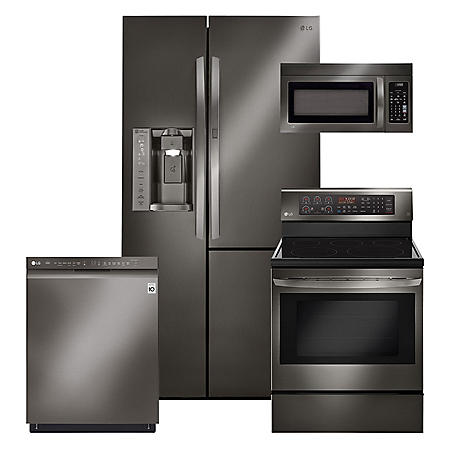 LG 4pc Kitchen Suite with Side-by-Side Refrigerator in Black Stainless Steel