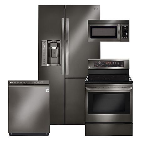 LG - 4-pc 26cft Side-by-Side, Elec Conv Range Kitchen Suite