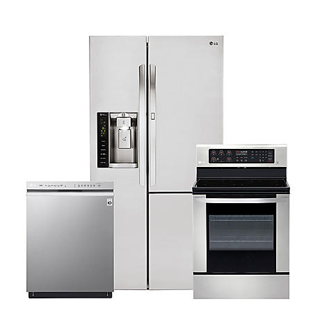 LG - 3pc  Kitchen Suite Elec / Gas Range, 26cu Side-by-Side Ref