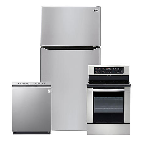 LG - 3pc Kitchen Suite Elec / Gas Range, 24cu Top Mount Ref