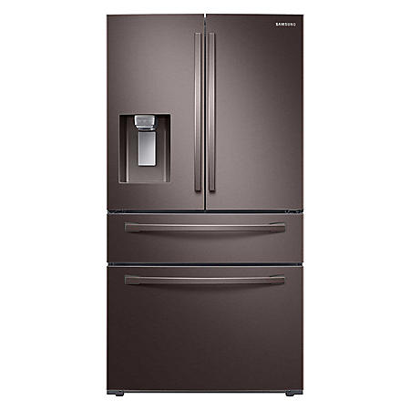 SAMSUNG 4-Door French Door Refrigerator with FlexZone™ Drawer, Fingerprint Resistant Tuscan Stainless Steel - RF28R7201DT - (CHOOSE: Depth, Display)