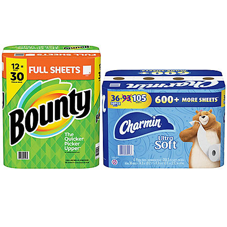 Charmin Ultra Soft Toilet Paper, 36 Super Rolls and Bounty Paper Towels, White, 12 Rolls