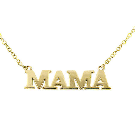 14K Gold Mama Necklace, 16-18""