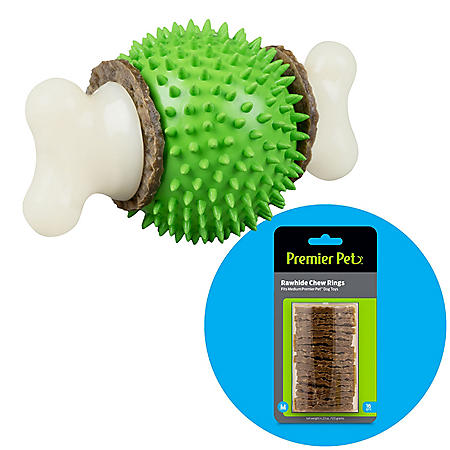 Premier Pet Ring Holding Ball Dog Toy, Medium (dogs 10 to 50 lbs.) + Rawhide Chew Ring Replacements, Medium (16 ct.)