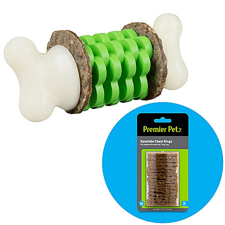 Premier Pet Ring Holding Bone Dog Toy, Medium (dogs 10 to 50 lbs.) + Rawhide Chew Ring Replacements, Medium (16 ct.)