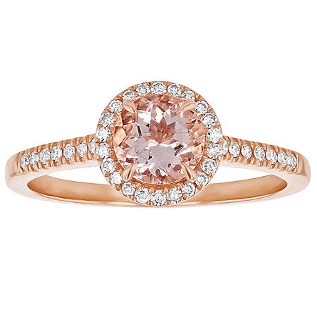 S Collection Morganite Diamond Oval Halo Ring in 14K Rose Gold