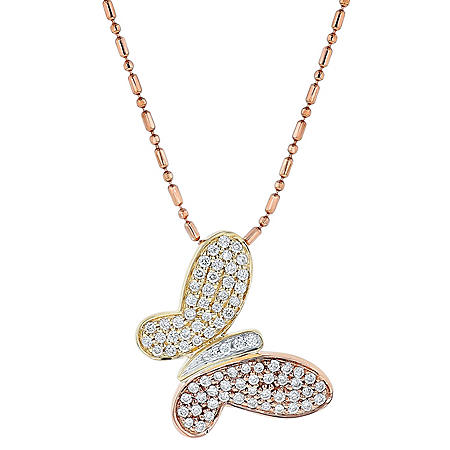 S Collection Rose and Yellow Diamond Butterfly Pendant in 14K Gold