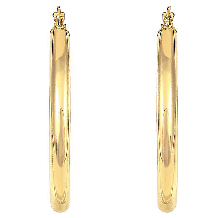 14K Gold Hoop Earrings - 3mm x 30mm