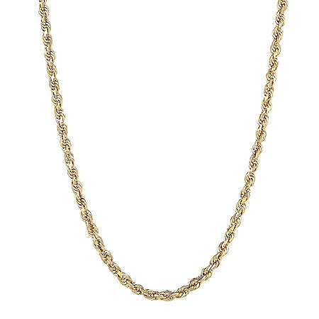 """14K Yellow Gold 3.00-3.20MM Solid Rope Chain, 24"""""""