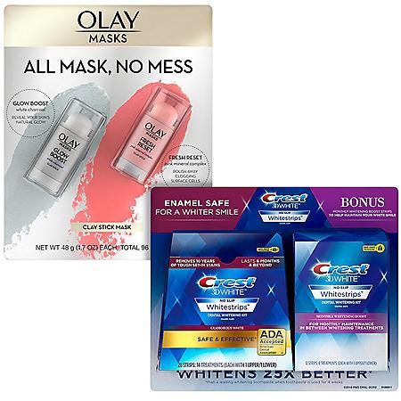 Crest 3D Whitestrips + Olay Clay Mask Sticks