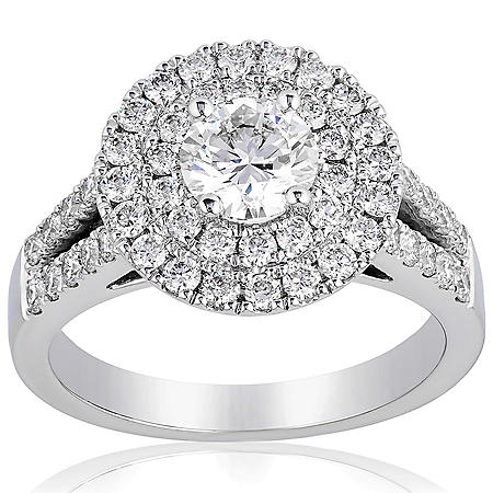 Superior Quality Collection 1.5 CT. T.W. Double Halo Split Shank Diamond Ring in 18 Karat White Gold (I, VS2)