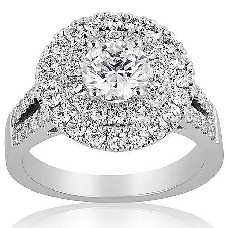Superior Quality Collection 2.5 CT. T.W. Double Halo Split Shank Diamond Ring in 18 Karat White Gold (I, VS2)