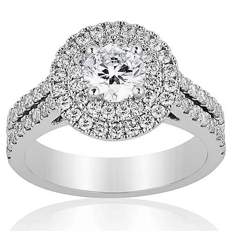 Superior Quality Collection 1.0 CT. T.W. Diamond Double Halo Ring in 18 Karat White Gold (I, VS2)