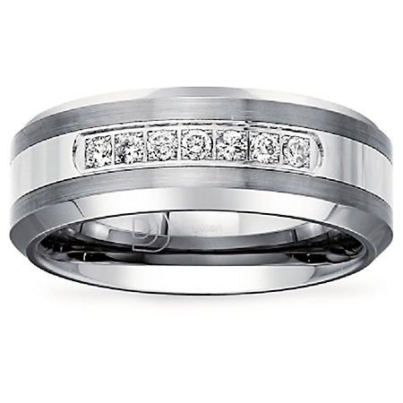 Mens 1/5 CT. T.W. Diamond Wedding Band in Tungsten Carbide