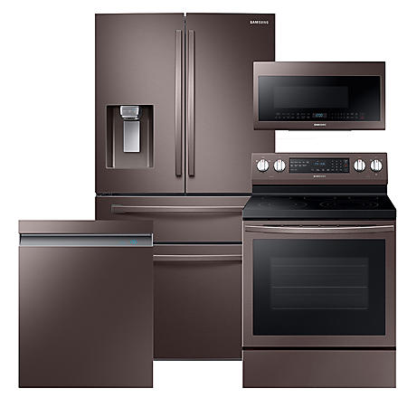 Samsung 4pc Kitchen Suite with Counter Depth 4-Door Refrigerator in Tuscan Stainless Steel