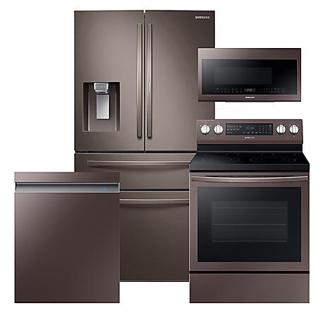 Samsung 4pc Kitchen Suite with 4-Door Refrigerator in Tuscan Stainless Steel