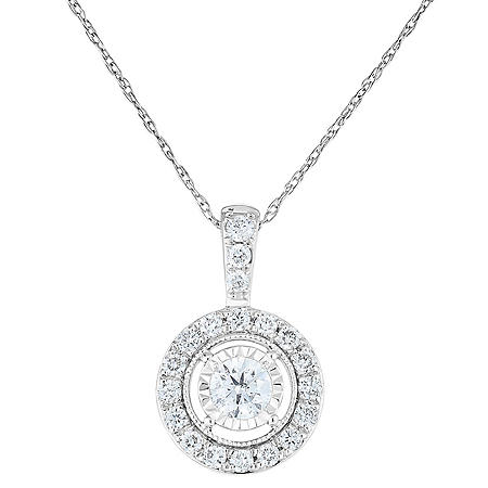 0.45 CT. T.W. Diamond Pendant in 14k White Gold