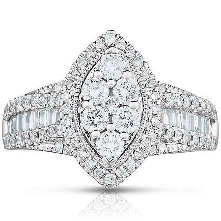 0.95 CT. T.W. Diamond Bridal Ring in 14k White Gold
