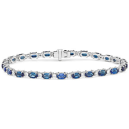 8.5 CT. Blue Sapphire and 0.84 CT. T.W. Diamond Bracelet in 14k Gold