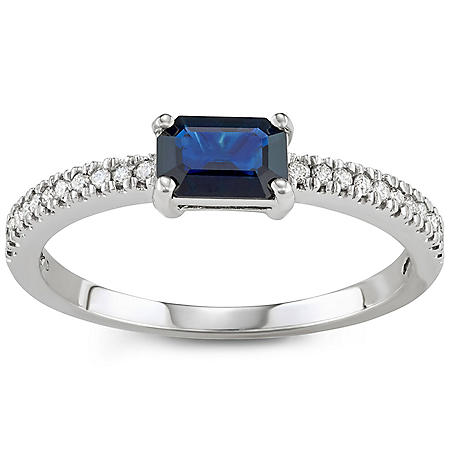 Blue Sapphire and Diamond Ring in 14k Gold