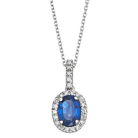 1.0 CT Blue Sapphire and Diamond Pendant in 14k Gold