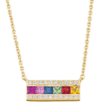 Rainbow Sapphire and Diamond Bar Necklace in 14k Gold