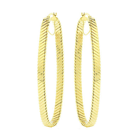 14k Gold Textured Support Bar Oval Hoop Earrings