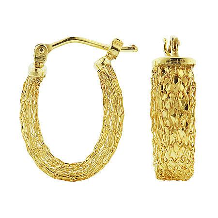 14K Gold Italian Woven Textured Hoop Earrings
