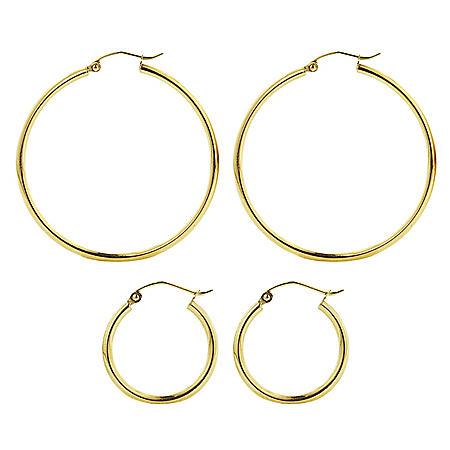 14K Gold High Polish Round Hoop Earring Set