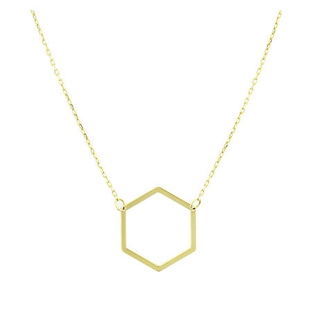 14K Yellow Gold Hexagon Necklace, 15.75-17.75""