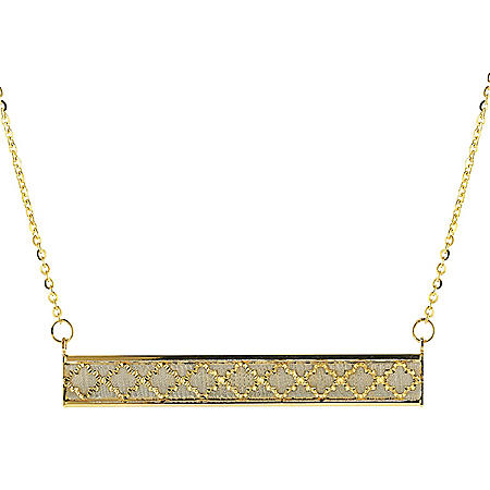 14K Italian Two-Tone Gold Textured Bar Necklace, 17-18""