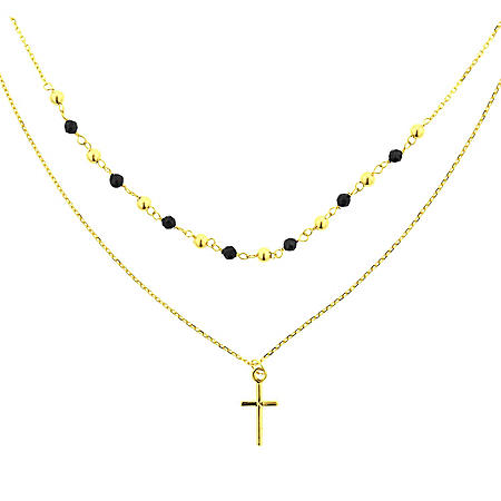 14K Gold Italian Double Strand Spinel Necklace with Cross, 16-18""