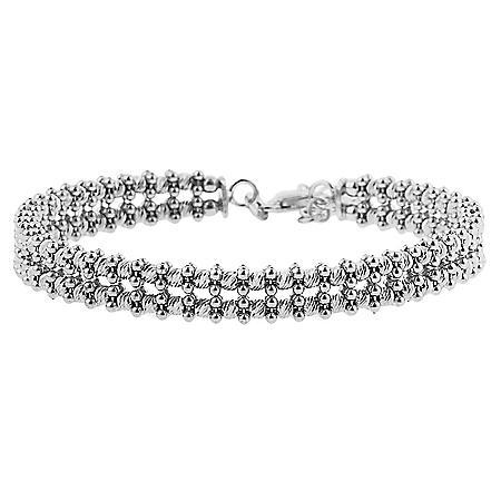 Sterling Silver Double Strand Bead Bracelet