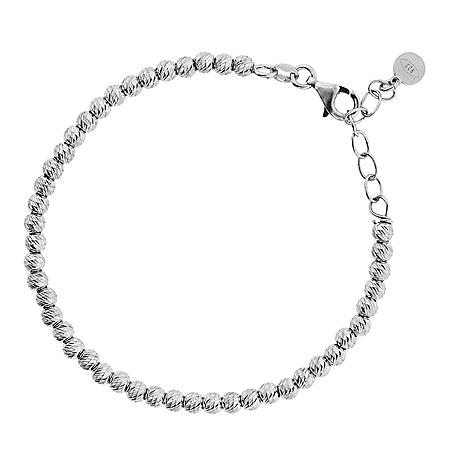 """Italian Sterling Silver Diamond Cut Bead Bracelet, 7-8"""""""