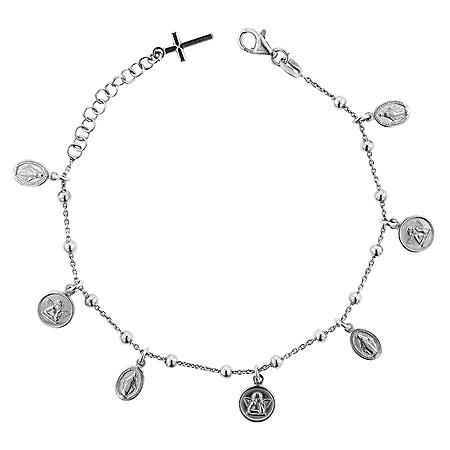 Italian Sterling Silver Mary, Cross, and Angel Bracelet, 7-8""