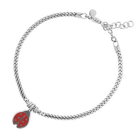 """Italian Sterling Silver Lady Bug Bracelet, 6.5-8"""""""