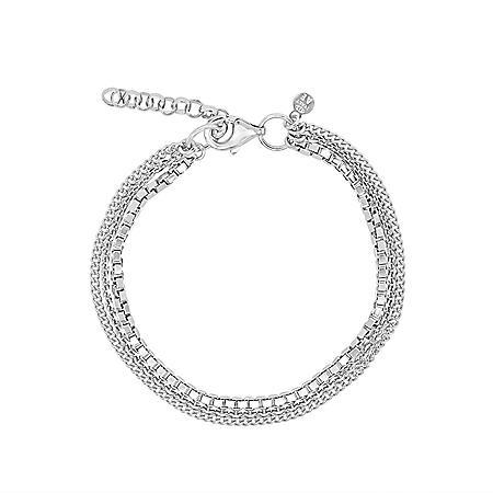 """Italian Sterling Silver Triple Strand Bracelet, 6.5-7.75"""""""