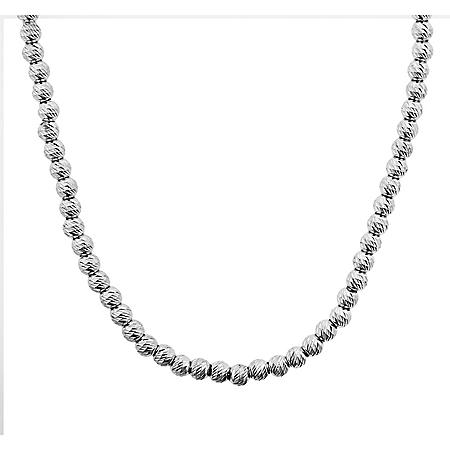 Italian Sterling Silver Diamond Cut Bead Necklace, 18-20""